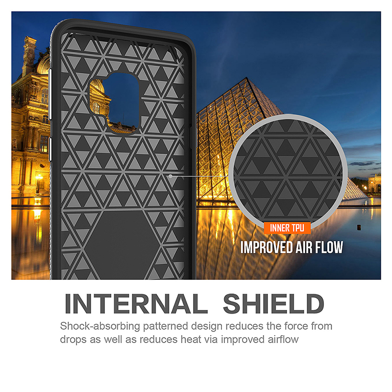 Dual Layer Shockproof Armor Case Back Cover for Samsung Galaxy S9 - Silver