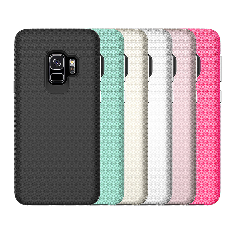 Dual Layer Shockproof Armor Case Back Cover for Samsung Galaxy S9 - Rose Red