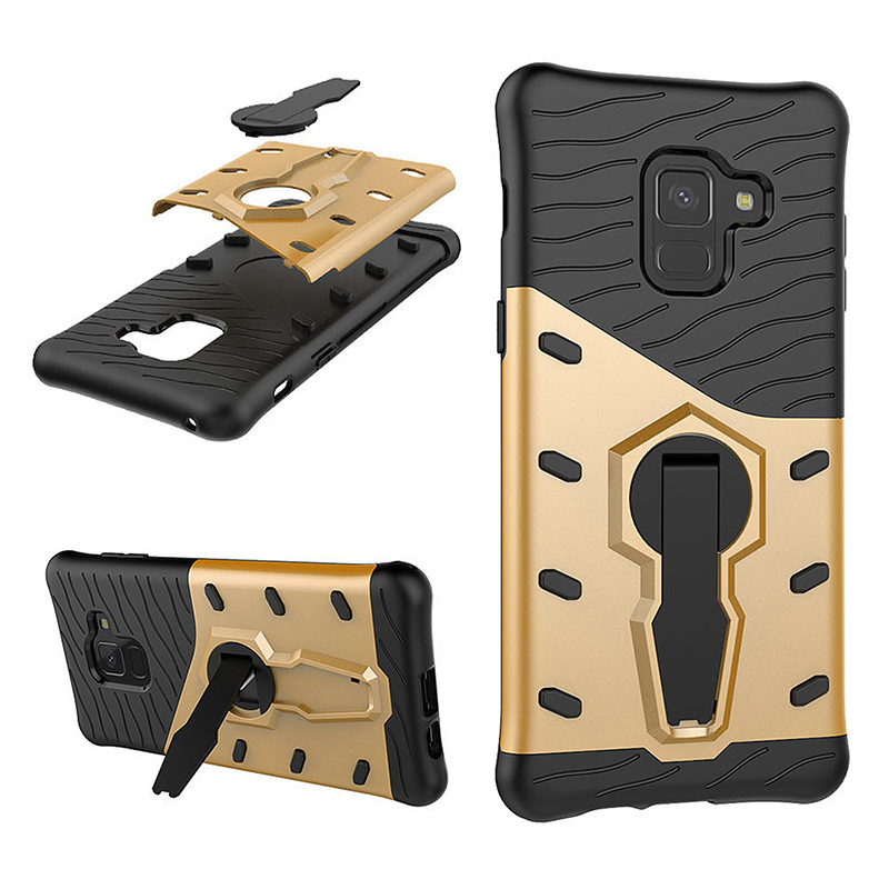 TPU+PC Armor Shockproof Case 360 Rotation Stand Back Cover for Samsung Galaxy A8 2018/A530 - Gold