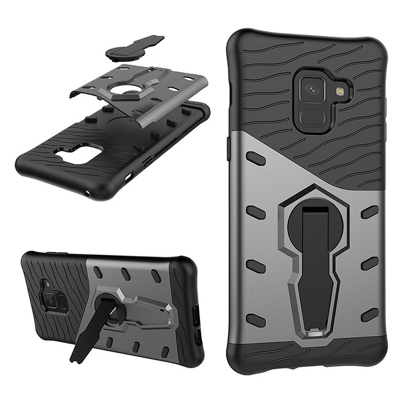 TPU+PC Armor Shockproof Case 360 Rotation Stand Back Cover for Samsung Galaxy A8 2018/A530 - Black