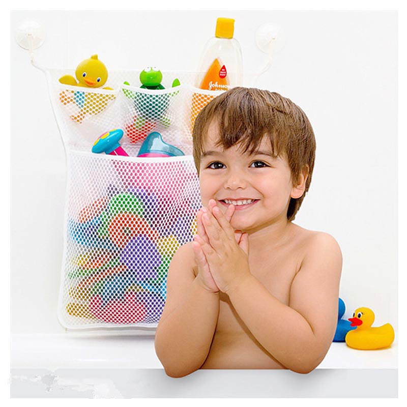 33*46CM Baby Kids Bath Toy Storage Mesh Bag Bathroom Suction Tidy Toys Organizer Net - White