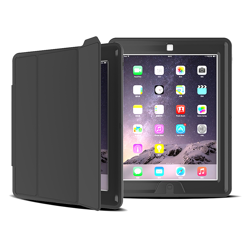 Slim Magnetic Smart Fold Flip Stand Case Cover Protector for Apple iPad 2/3/4 - Black