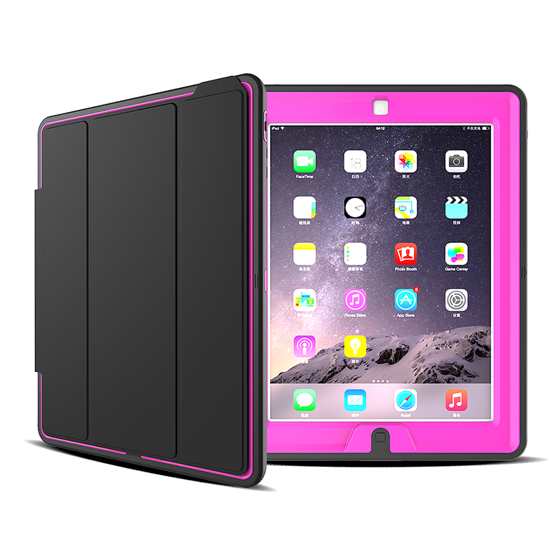 Slim Magnetic Smart Fold Flip Stand Case Cover Protector for Apple iPad 2/3/4 - Rose Red