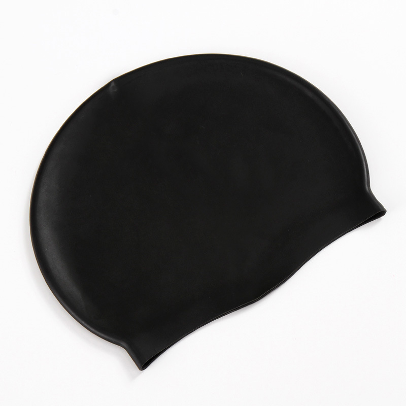 Unisex Swimming Pool Cap Waterproof Silicone Swim Hat with Ears Cover - Black