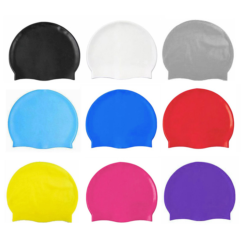 Unisex Swimming Pool Cap Waterproof Silicone Swim Hat with Ears Cover - White