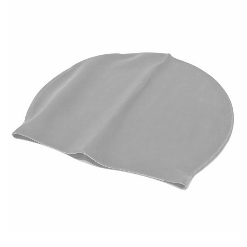 Unisex Swimming Pool Cap Waterproof Silicone Swim Hat with Ears Cover - Grey