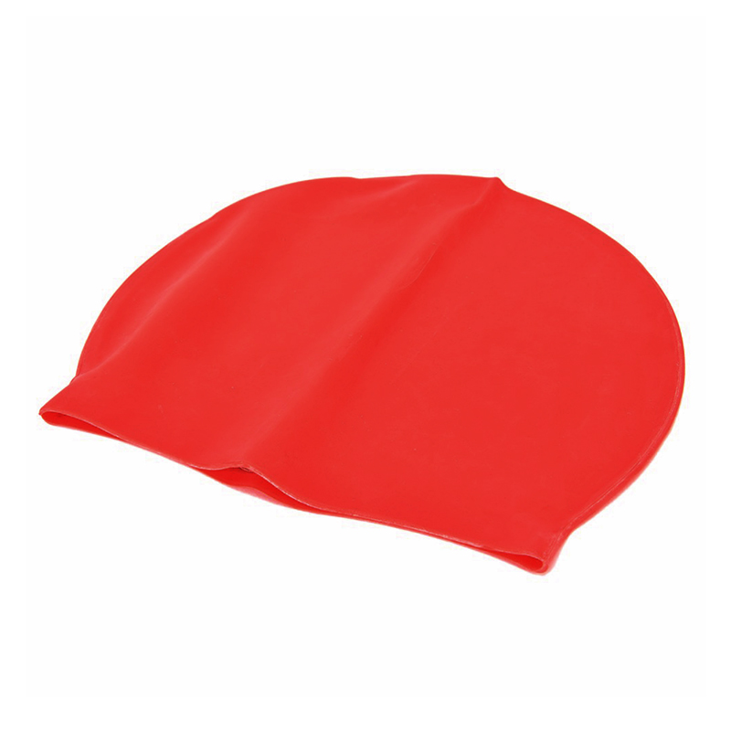 Unisex Swimming Pool Cap Waterproof Silicone Swim Hat with Ears Cover - Red