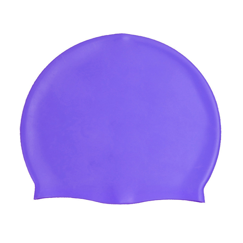 Unisex Swimming Pool Cap Waterproof Silicone Swim Hat with Ears Cover - Purple