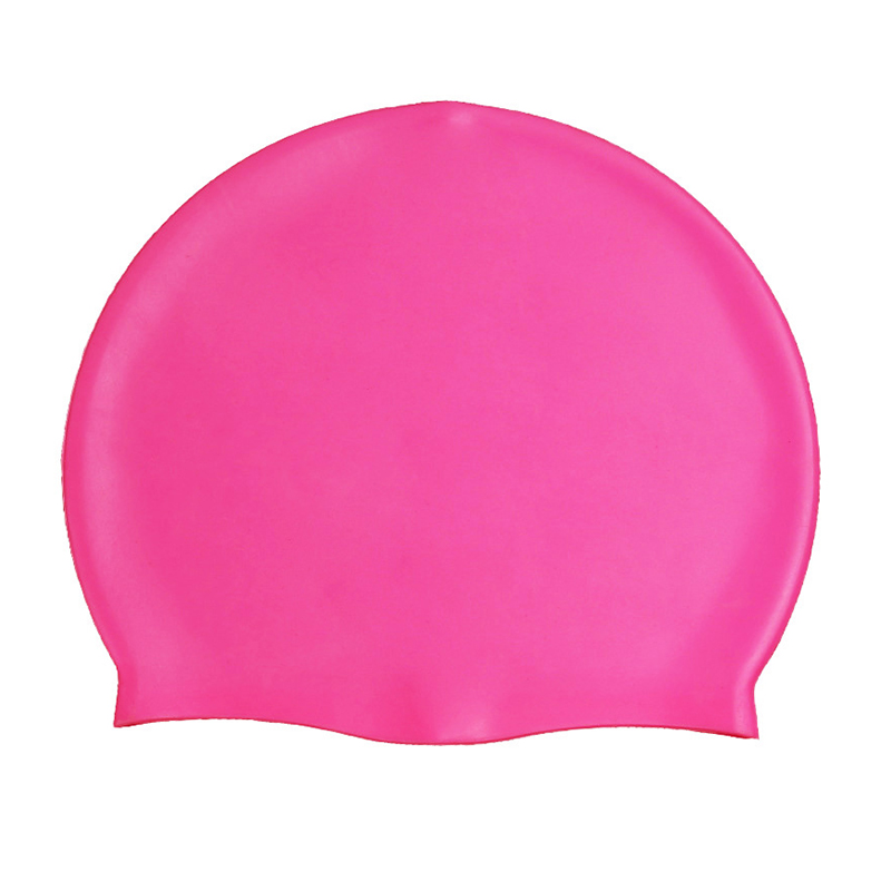 Unisex Swimming Pool Cap Waterproof Silicone Swim Hat with Ears Cover - Rose Red