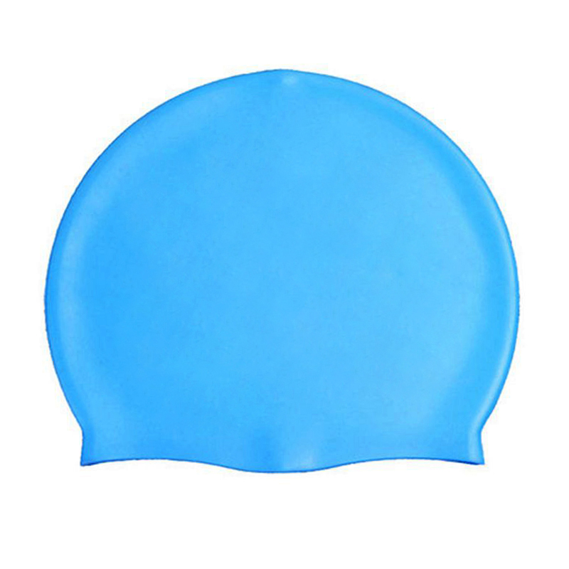 Unisex Swimming Pool Cap Waterproof Silicone Swim Hat with Ears Cover - Blue