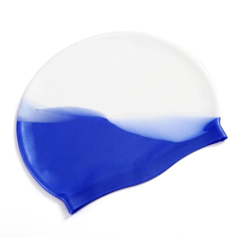 Colorful Silicone Rubber Swimming Cap Unisex Adult Kids Waterproof Shower Swim Hat - Color 1