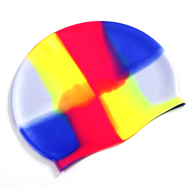 Colorful Silicone Rubber Swimming Cap Unisex Adult Kids Waterproof Shower Swim Hat - Color 6