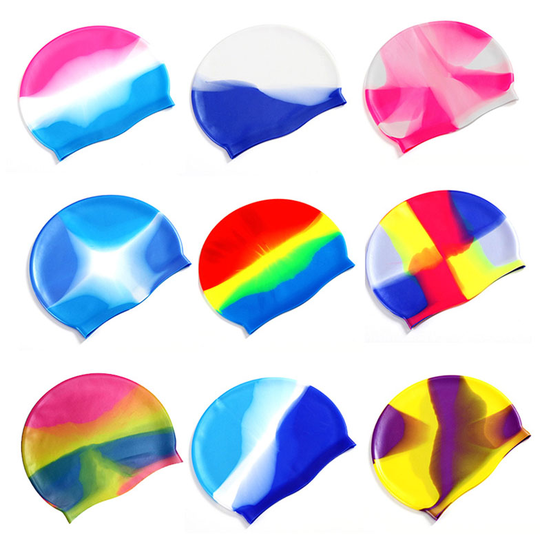 Colorful Silicone Rubber Swimming Cap Unisex Adult Kids Waterproof Shower Swim Hat - Color 7