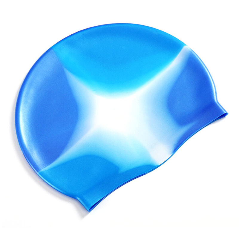 Colorful Silicone Rubber Swimming Cap Unisex Adult Kids Waterproof Shower Swim Hat - Color 8