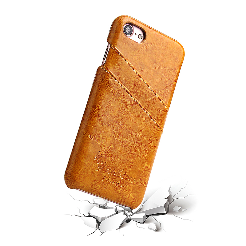 iPhone 7/8 Ultra-Thin Wallet PU Leather Case Back Cover with Card Slots - Yellow
