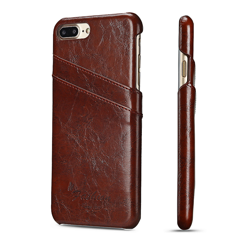 Thin Slim Vintage PU Leather Shockproof Case Card Slots Wallet Back Cover for iPhone 7/8 Plus - Brown