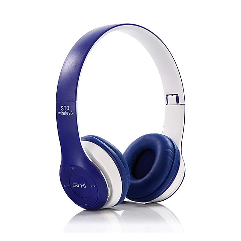 ST3 Wireless Bluetooth Headset Stereo Adjustable On-ear Headphone Earphone - Blue