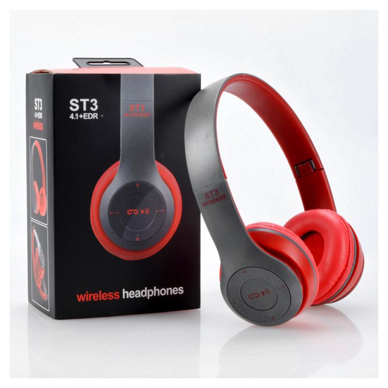 ST3 Wireless Bluetooth Headset Stereo Adjustable On-ear Headphone Earphone - Red