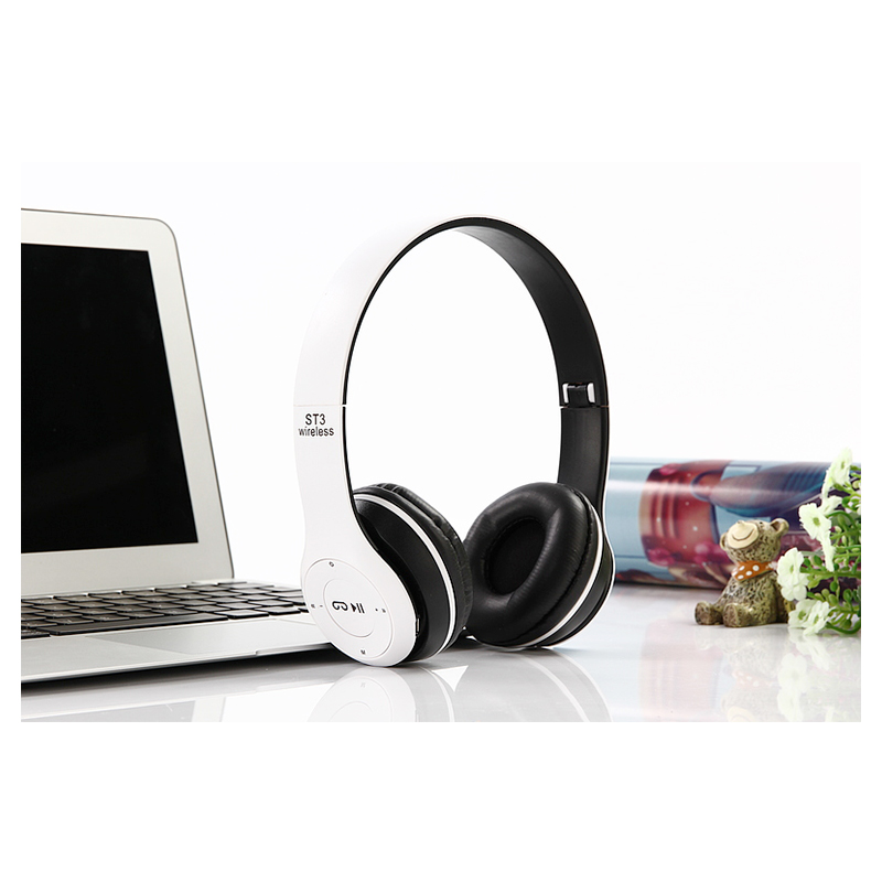 ST3 Wireless Bluetooth Headset Stereo Adjustable On-ear Headphone Earphone - White