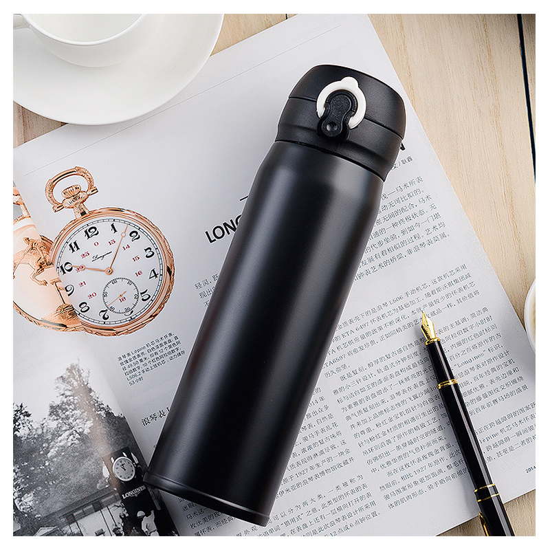 500ML Travel Bounce Switch Water Flask Stainless Steel Vacuum Insulated Bottle - Black