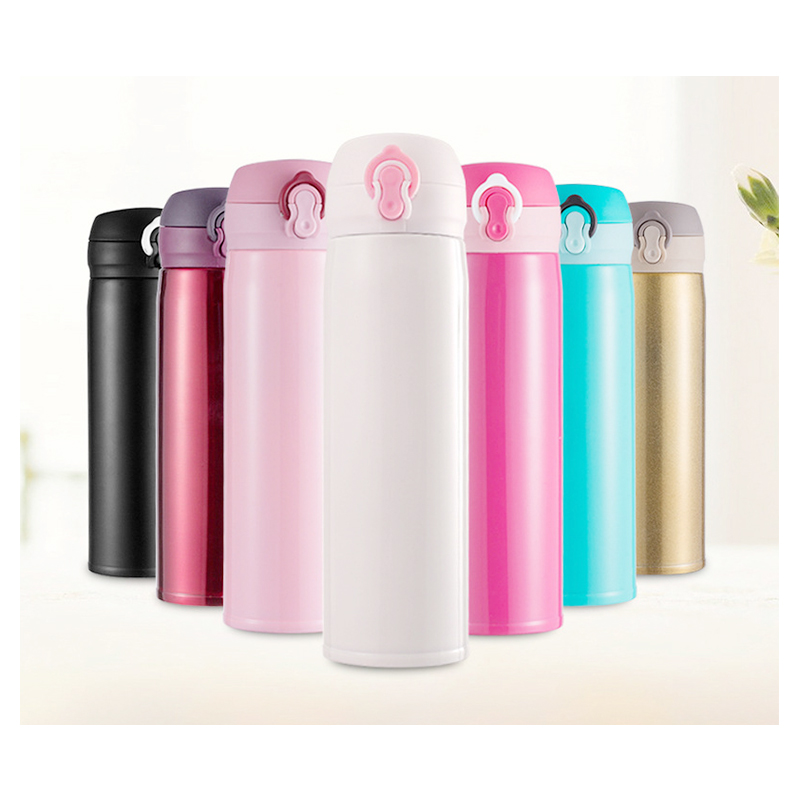 500ML Travel Bounce Switch Water Flask Stainless Steel Vacuum Insulated Bottle - Golden