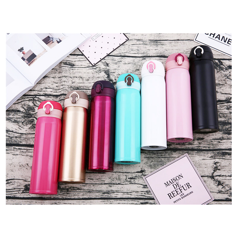 500ML Travel Bounce Switch Water Flask Stainless Steel Vacuum Insulated Bottle - Pink