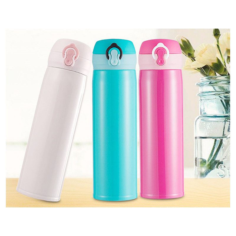 500ML Travel Bounce Switch Water Flask Stainless Steel Vacuum Insulated Bottle - Rose Red