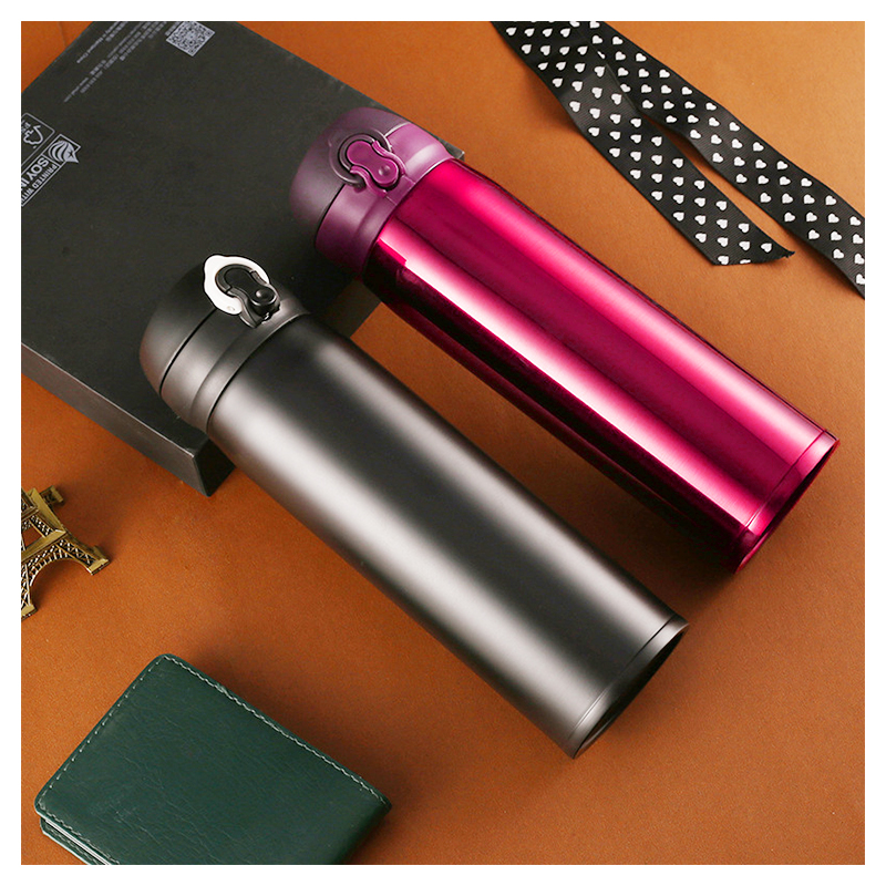 500ML Travel Bounce Switch Water Flask Stainless Steel Vacuum Insulated Bottle - Red