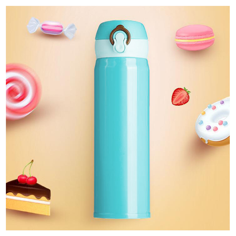 500ML Travel Bounce Switch Water Flask Stainless Steel Vacuum Insulated Bottle - Blue