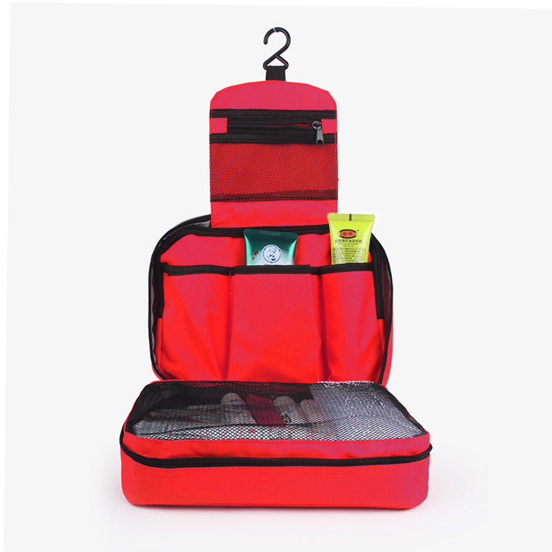 Travel Hanging Waterproof Toiletry Bag Portable Cosmetic Makeup Bathroom Organizer - Red