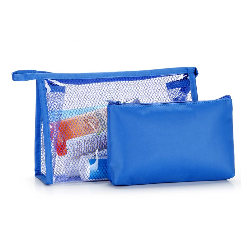2Pcs/Set Waterproof Portable Travel Makeup Bag Toiletry Wash Storage Pouch - Blue