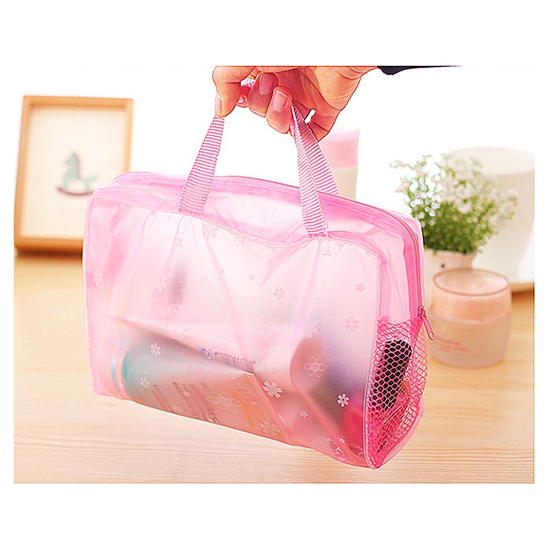 Floral Transparent Waterproof Cosmetic Toiletry Bag Multi-function Hanging Makeup Case Pouch - Pink