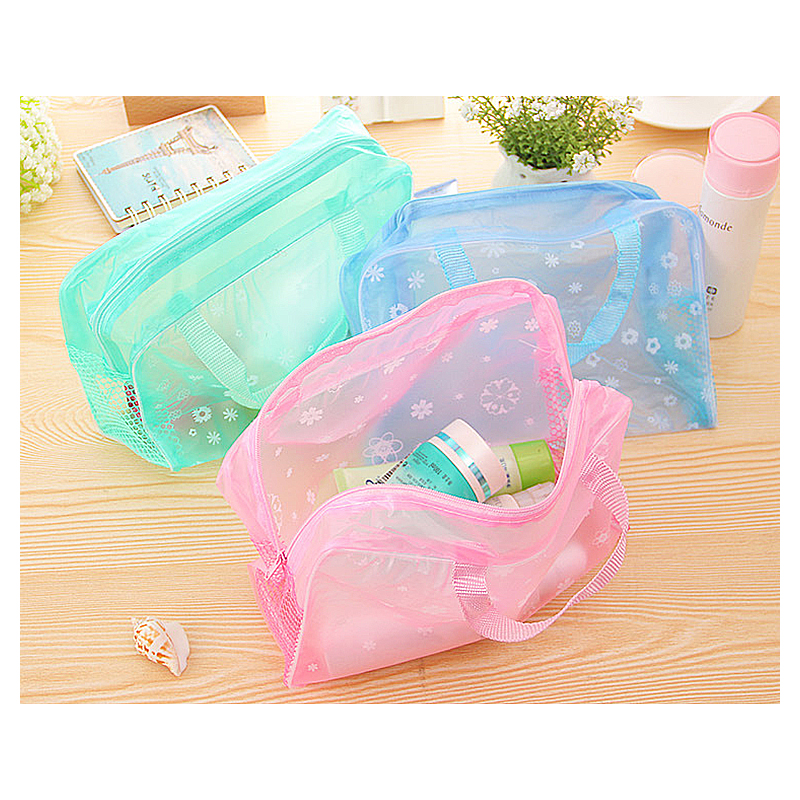 Floral Transparent Waterproof Cosmetic Toiletry Bag Multi-function Hanging Makeup Case Pouch - Green