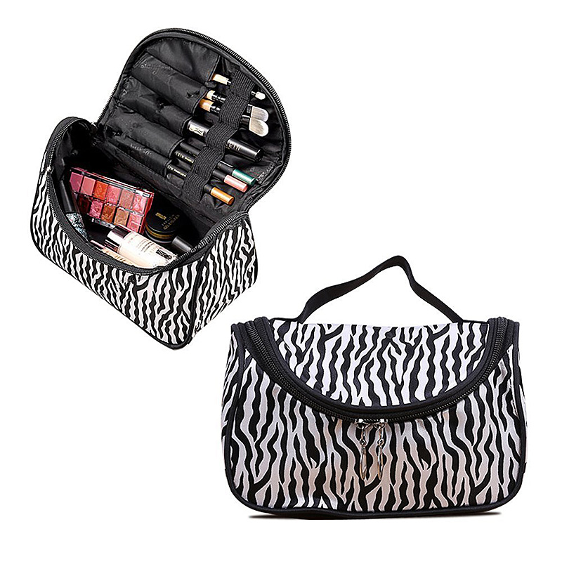 Fashion Waterproof Cosmetic Makeup Bag Pouch Protable Travel Toiletry Organizer Case - Zebra