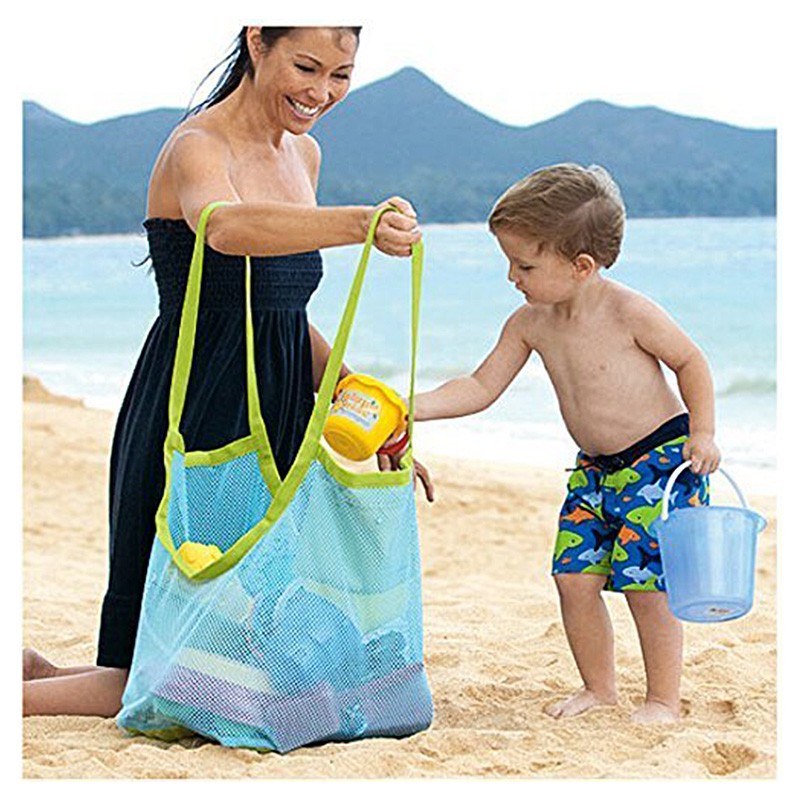 Extra Large Family Mesh Beach Bag Toys Sand Away Tote Backpack Storage - Blue Net