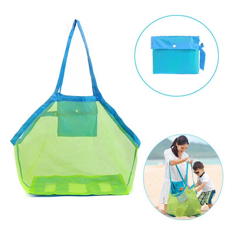 Extra Large Family Mesh Beach Bag Toys Sand Away Tote Backpack Storage - Green Net