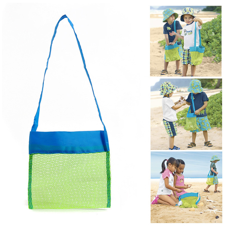 Small Kids Children Beach Bag Sand Away Tote Mesh Toys Storage Backpack - Green