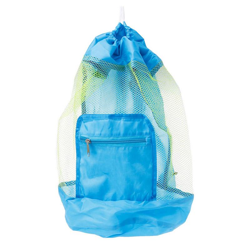 Children Kids Folding Mesh Beach Bag Toys Storage Backpack Drawstring Sack - Blue