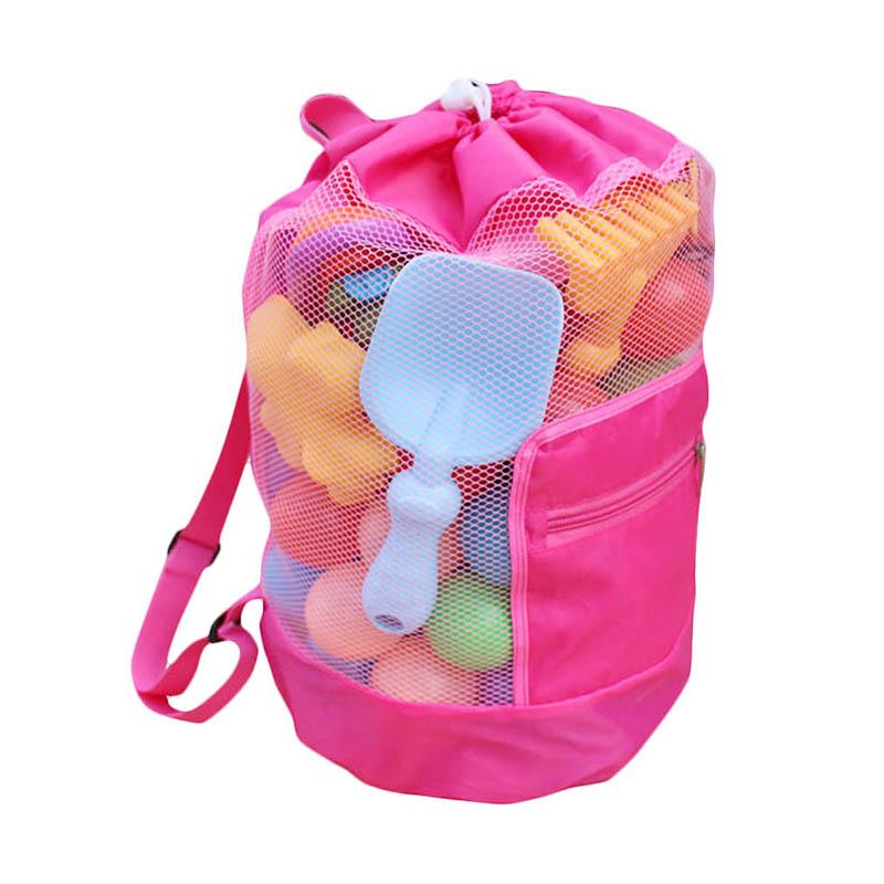 Children Kids Folding Mesh Beach Bag Toys Storage Backpack Drawstring Sack - Pink