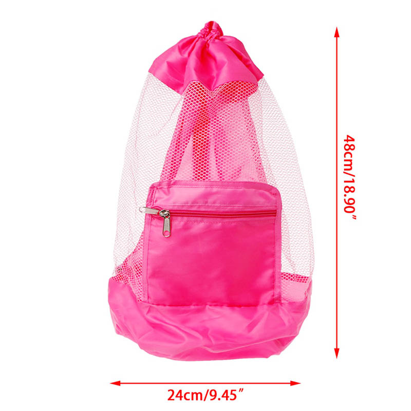Children Kids Folding Mesh Beach Bag Toys Storage Backpack Drawstring Sack - Pink