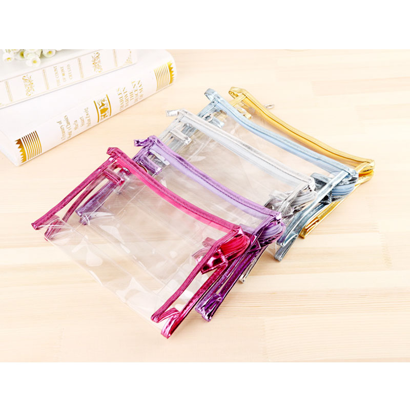 Clear Transparent Waterproof Makeup Bag Portable Travel Cosmetic Toiletry Wash Pouch Organizer - Golden