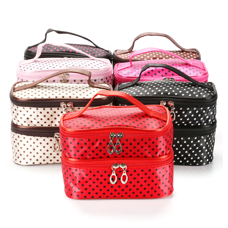 Double Layer Waterproof Makeup Bag Fashion Portable Travel Toiletries Cosmetic Organizer Case - Rose Red