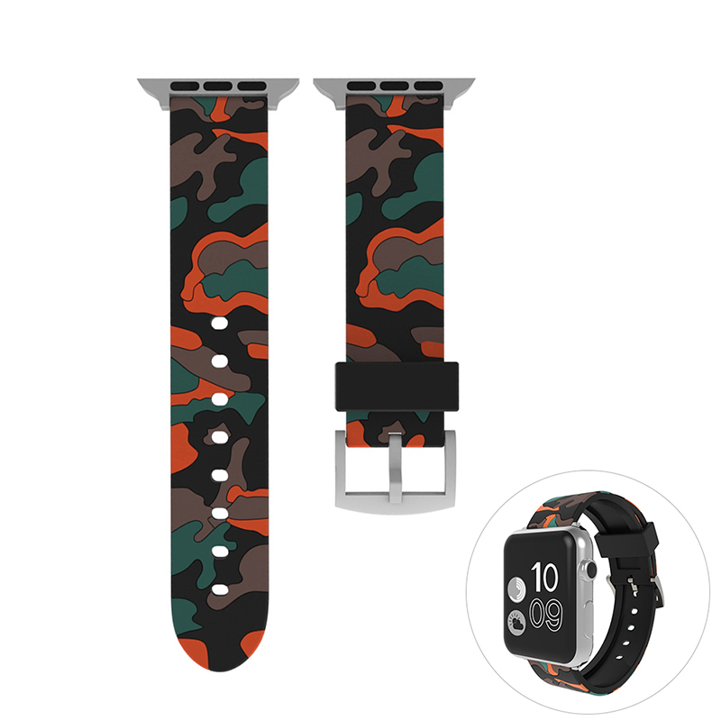 42mm Soft Silicone Replacement Watchband Adjustable Sports Watch Wrist Strap for Apple Watch - Orange