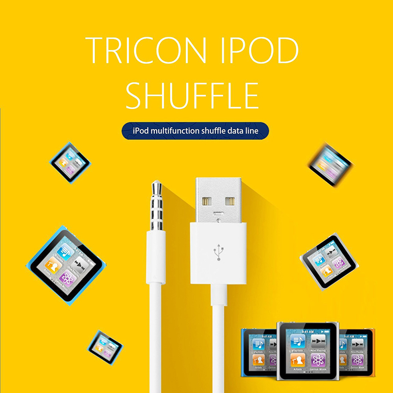 iPod Shuffle USB Charger Cable 3.5mm Power Charge Sync Date Line