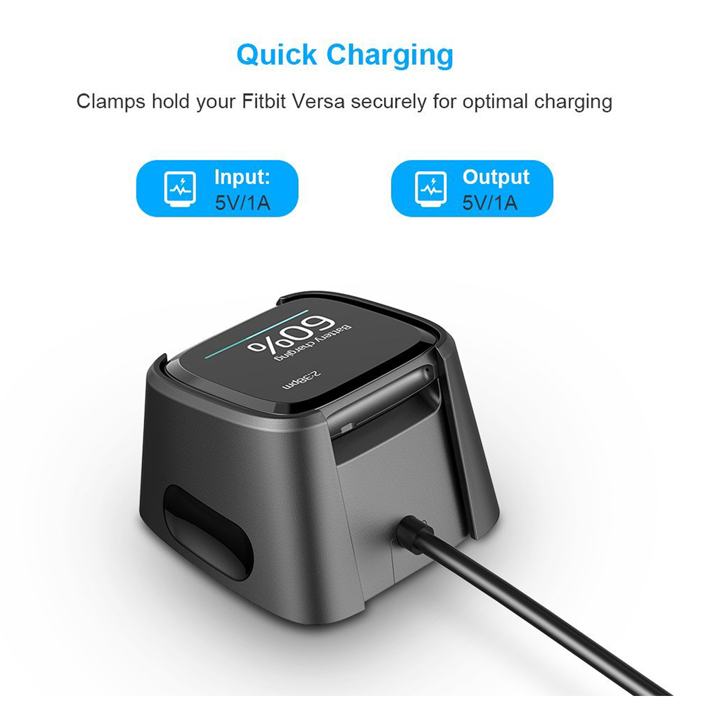 Fitbit Versa Charger Replacement USB Charging Data Cable Cradle Dock - Official Model