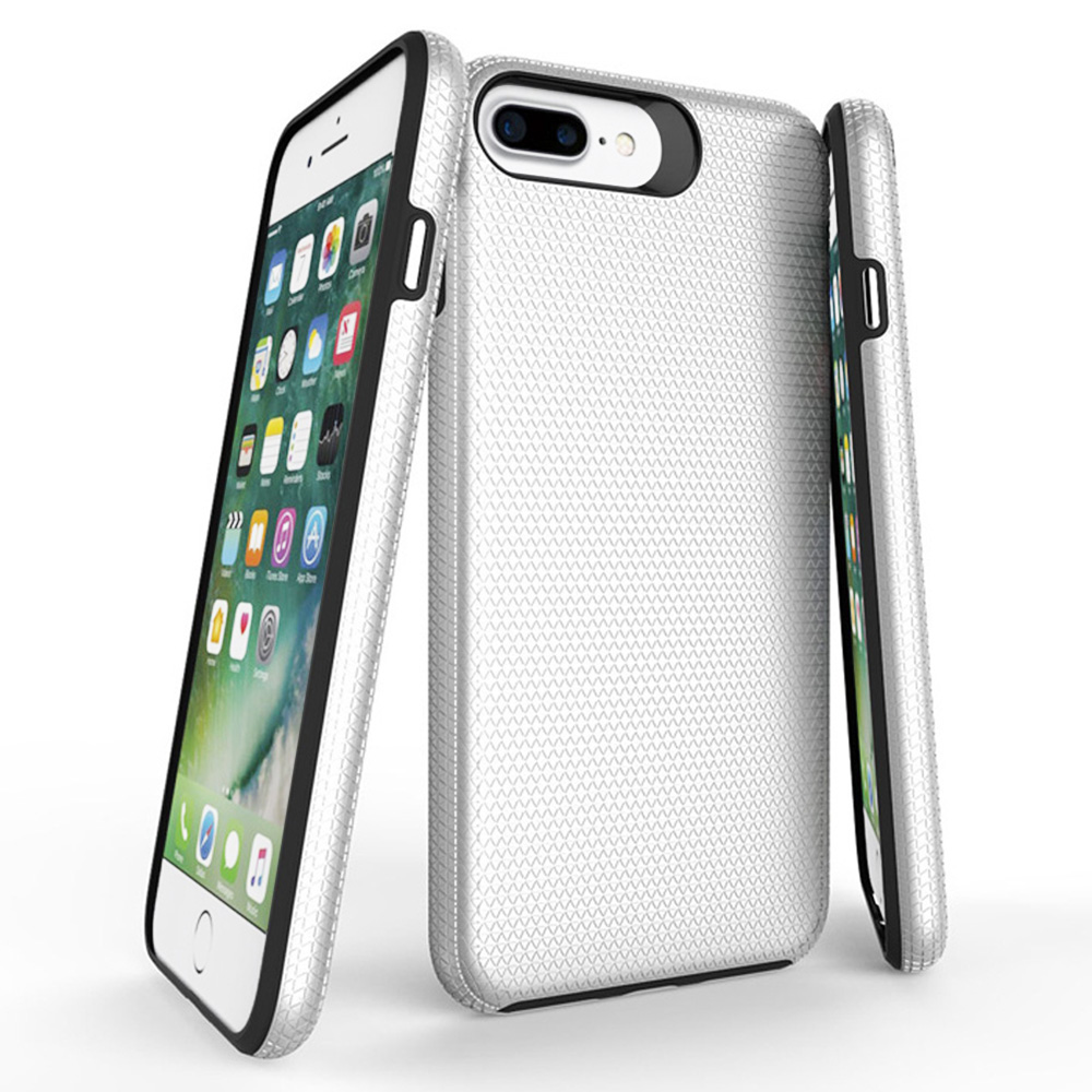 Slim Armor Rugged Hybrid Case PC+TPU 2in1 Shockproof Back Cover for iPhone 6/7/8 Plus - Silver
