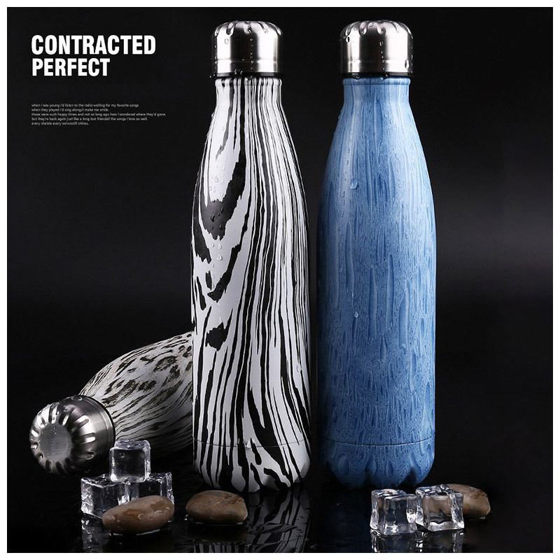 500ML Water Flask Stainless Steel Double Wall Vacuum Insulated Keep Hot Cold Bottle - Leopard