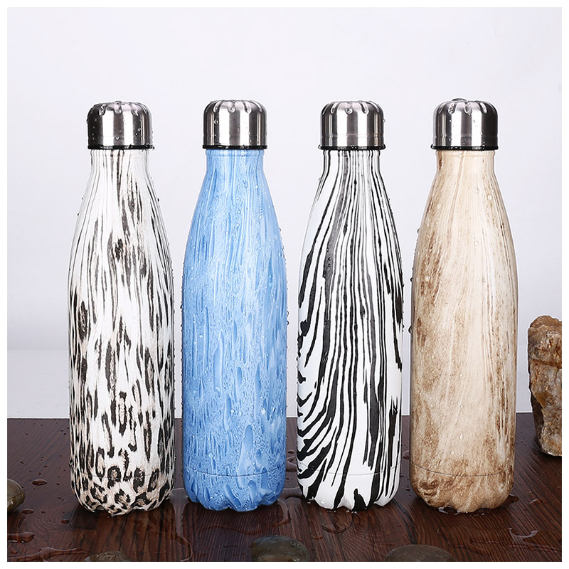500ML Water Flask Stainless Steel Double Wall Vacuum Insulated Keep Hot Cold Bottle - Pine Wooden