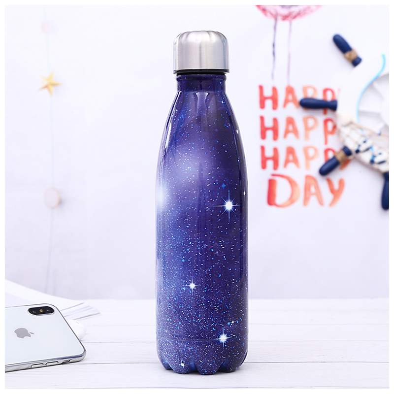 500ML Portable Stainless Steel Water Flask Starry Sky Pattern Double Wall Vacuum Insulated Bottle - Pattern 4