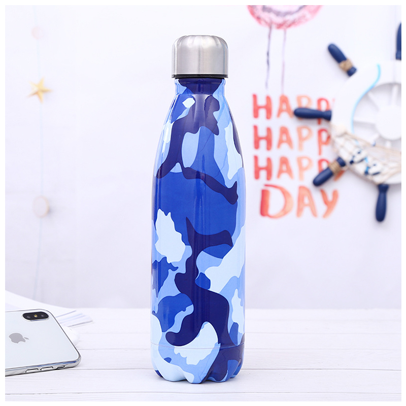 500ML Portable Stainless Steel Water Flask Camouflage Pattern Double Wall Vacuum Insulated Bottle - Pattern 1